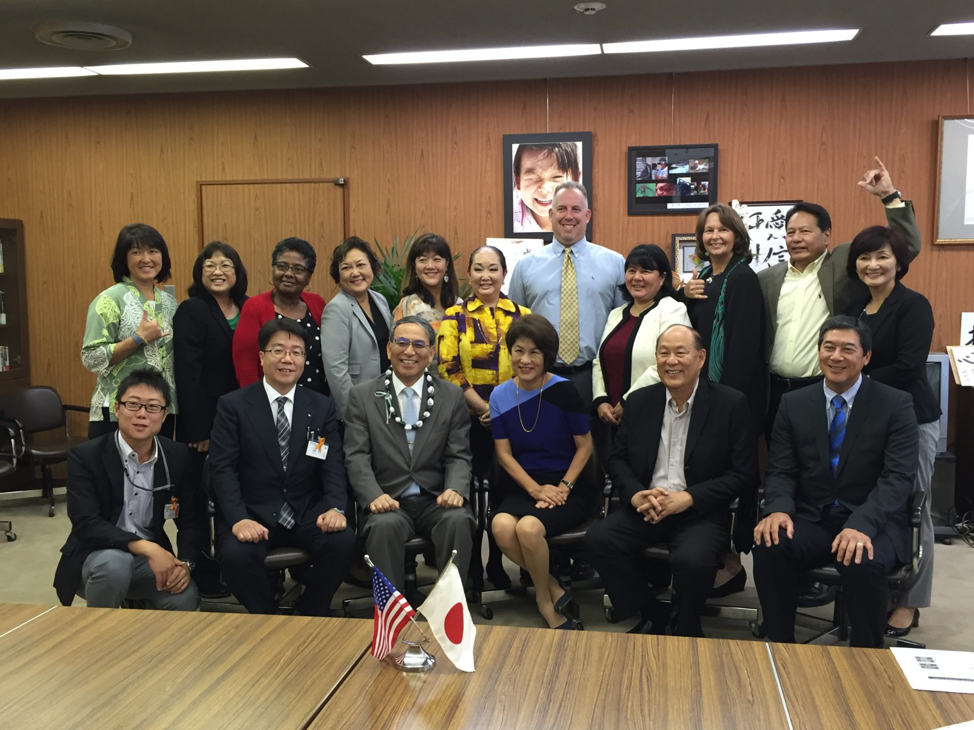ハワイ州知事夫人、ハワイ大学、ハワイ州観光局、ハワイ州教育局とともに広島県教育委員会を訪問。